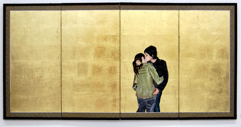 Cat and Carm by Shizu Saldamano. oil, gold leaf on found screen, 32x64 inches