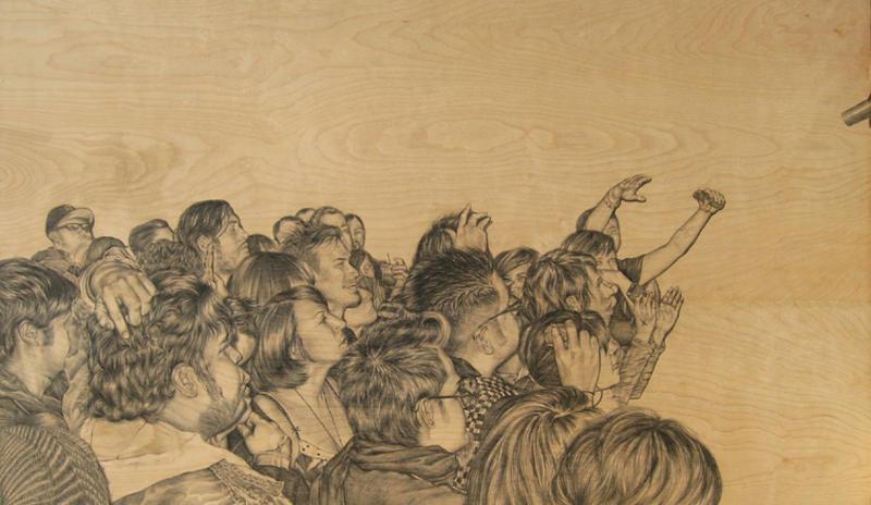 Maria Daniela y su Sonido Lasser Concert, Azusa CA  graphite on wood, 3x5 feet