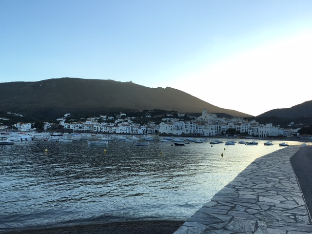 Cadaques at evening looking toward the sea and town
