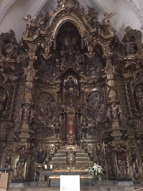 Amazing baroque altarpiece in the church of Santa Maria in Cadaques build in the 18th century, Costa Brava, Catalonia, Spain. It was designed by Jacint Moreto and made by sculptors Pau Costa and Joan Torres.